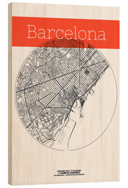 Wood print  Barcelona map circle - campus graphics