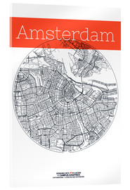 Acrylic print  Amsterdam map circle - campus graphics