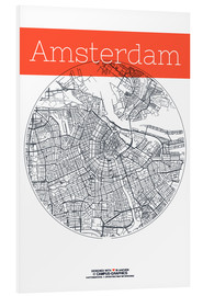 Foam board print  Amsterdam map circle - campus graphics