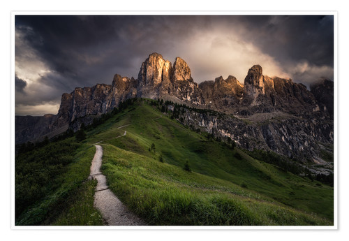 Premium poster Sunset at the Passo Gardena, Dolomites, Italy