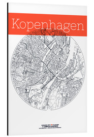 Aluminium print  Copenhagen map city black and white - campus graphics