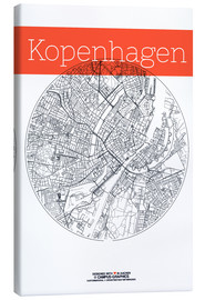 Canvas  Copenhagen map city black and white - campus graphics