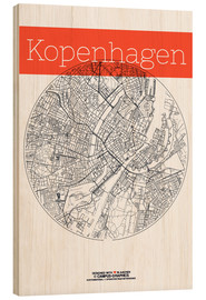 Wood print  Copenhagen map city black and white - campus graphics