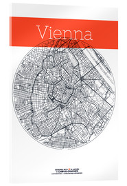 Acrylic glass  Vienna map city black and white - campus graphics