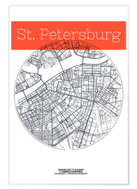 Premium poster  St. Petersburg map circle - campus graphics