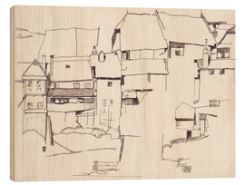 Wood print  Old houses in Krumau - Egon Schiele