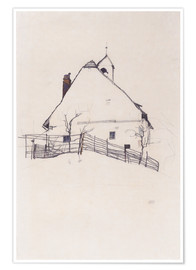 Premium poster  Residential house with fence - Egon Schiele
