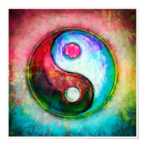 Premium poster Yin Yang, colorful painting 4