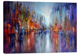 Canvas print  City by the river - Annette Schmucker