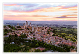 Premium poster Aerial drone view over San Gimignano, Tuscany, Italy
