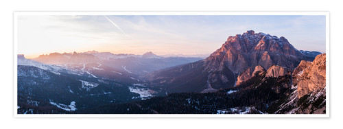 Premium poster Aerial drone view over valley, Dolomites