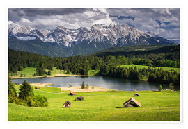 Premium poster Karwendel mountains with lake in the Alps