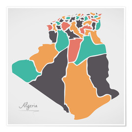Premium poster Algeria map modern abstract with round shapes