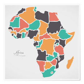 Premium poster Africa map modern abstract with round shapes
