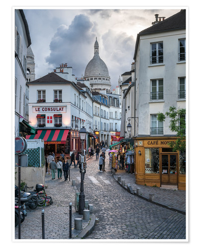 Premium poster Streets of Montmartre and Sacre Coeur