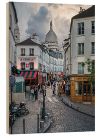 Wood print  Streets of Montmartre and Sacre Coeur - Jan Christopher Becke