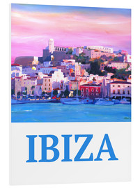 Foam board print  Retro Poster Ibiza Old Town and Harbour Pearl Of the Mediterranean - M. Bleichner