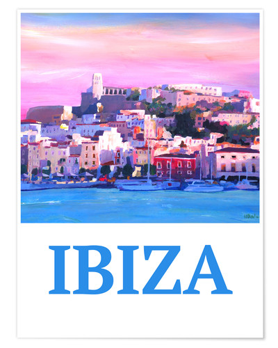 Premium poster Retro Poster Ibiza Old Town and Harbour Pearl Of the Mediterranean