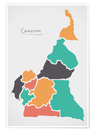 Premium poster Cameroon map modern abstract with round shapes