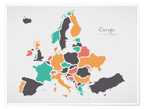 Premium poster Europe map modern abstract with round shapes