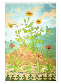 Premium poster Sunflowers and Poppies