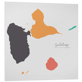 Foam board print  Guadeloupe map modern abstract with round shapes - Ingo Menhard