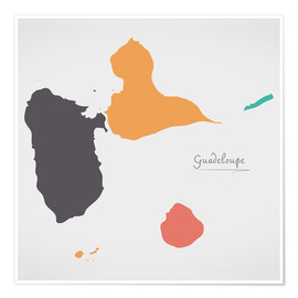 Premium poster Guadeloupe map modern abstract with round shapes