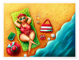 Premium poster Plump woman on the beach