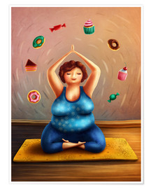 Premium poster Fat woman doing yoga