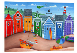 Acrylic glass  Beach hut rainbow scene - Peter Adderley