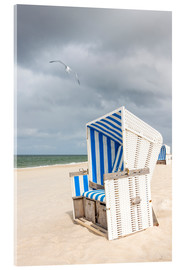 Acrylic print  Seagull and beach chair on Sylt