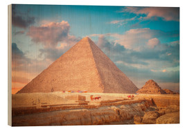 Wood print  great pyramid of Giza in Egypt