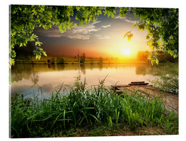 Acrylic print  Quiet fishing lake in the evening