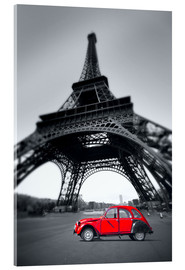 Acrylic print  Vintage red car stands on the Champ de Mars