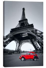 Canvas print  Vintage red car stands on the Champ de Mars