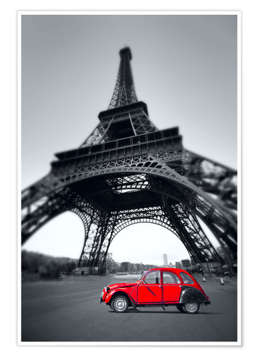 Premium poster Vintage red car stands on the Champ de Mars