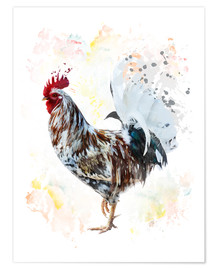 Premium poster  Digital painting of a colorful rooster