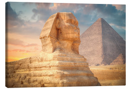 Canvas  Sphinx and pyramid