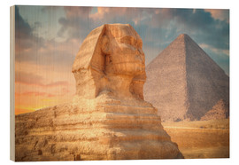 Wood print  Sphinx and pyramid