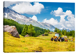 Canvas  Tractor in summer field
