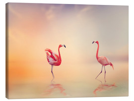 Canvas print  Two Flamingoes in The Lake at Sunset