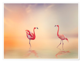 Premium poster  Two Flamingoes in The Lake at Sunset