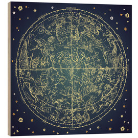 Wood print  Star map