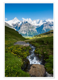 Premium poster Mountain panorama with Schreckhorn and Fiescherhorn  View from First, Grindelwald, Switzerland