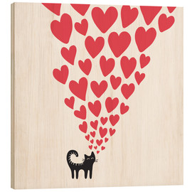 Wood print  cat heart - Kidz Collection