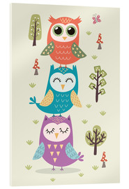 Acrylic print  Three owls - Kidz Collection