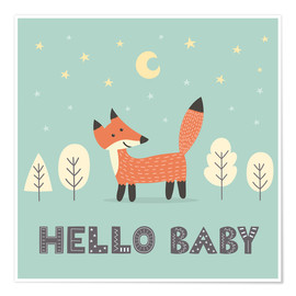Poster  A little fox is standing in the forest - Kidz Collection