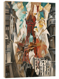 Wood print  Champs de Mars: The Red Tower - Robert Delaunay