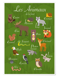 Premium poster Forest animals - French