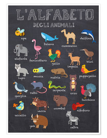 Premium poster  Alphabet of Animals (Italian) - Kidz Collection